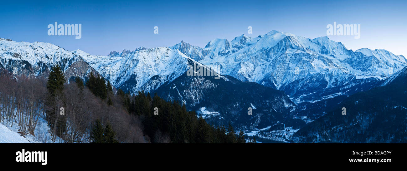 Chamonix Valley Mont Blanc and the Mont Blanc Massif range of mountains French Alps Haute Savoie France - Stock Image
