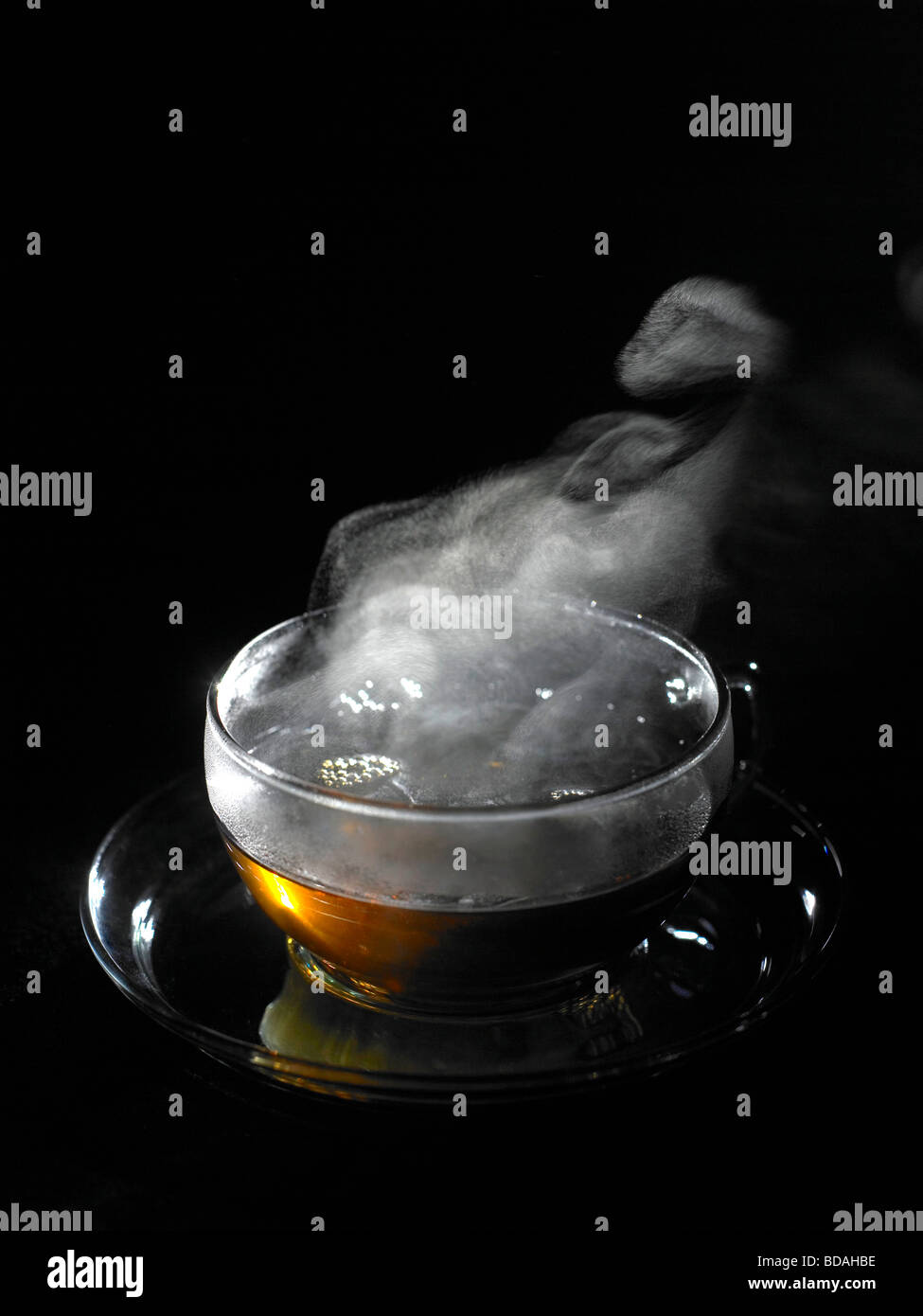 steaming cup of tea Stock Photo