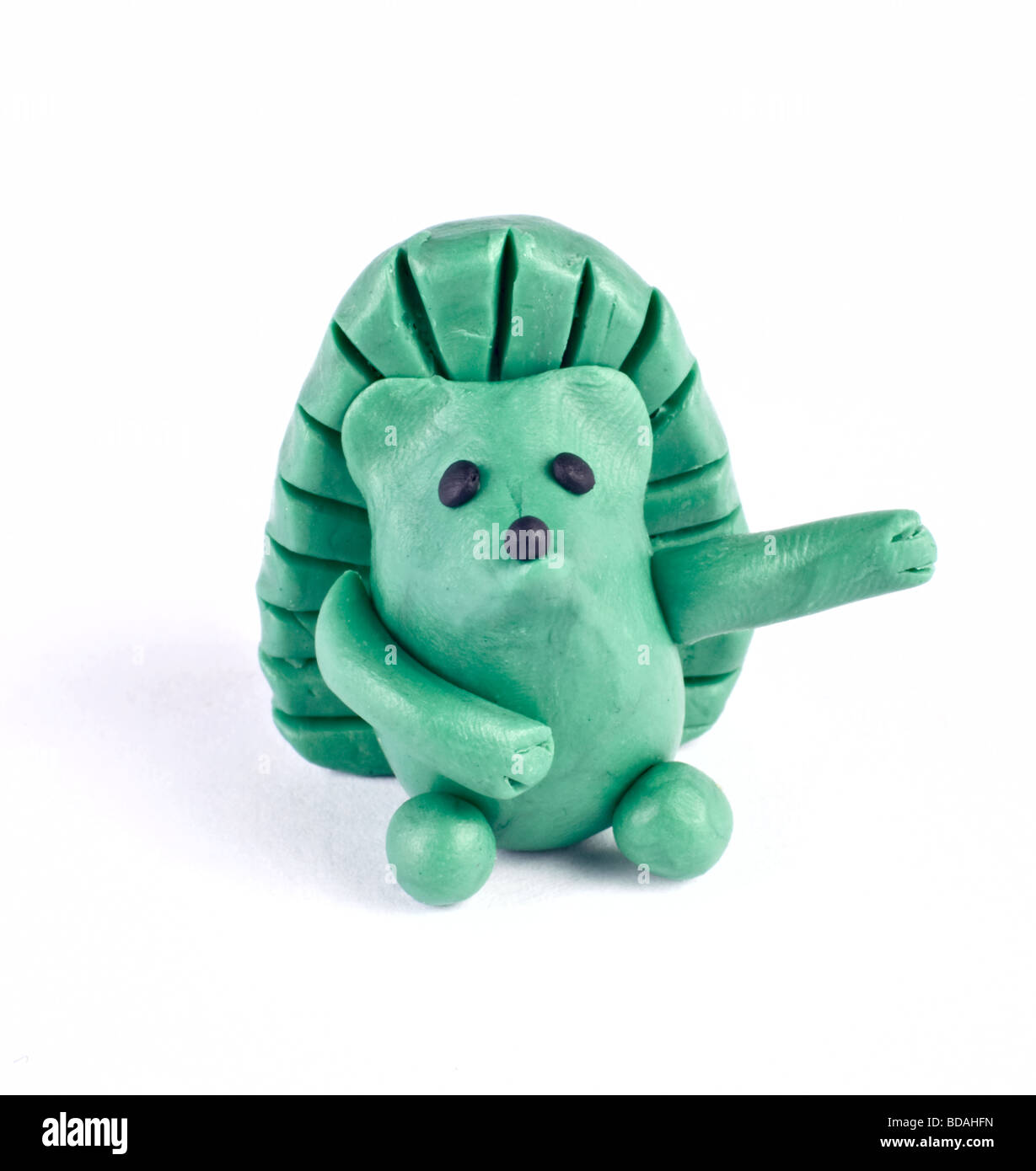 There is plasticine hedgehog isolated over white Stock Photo