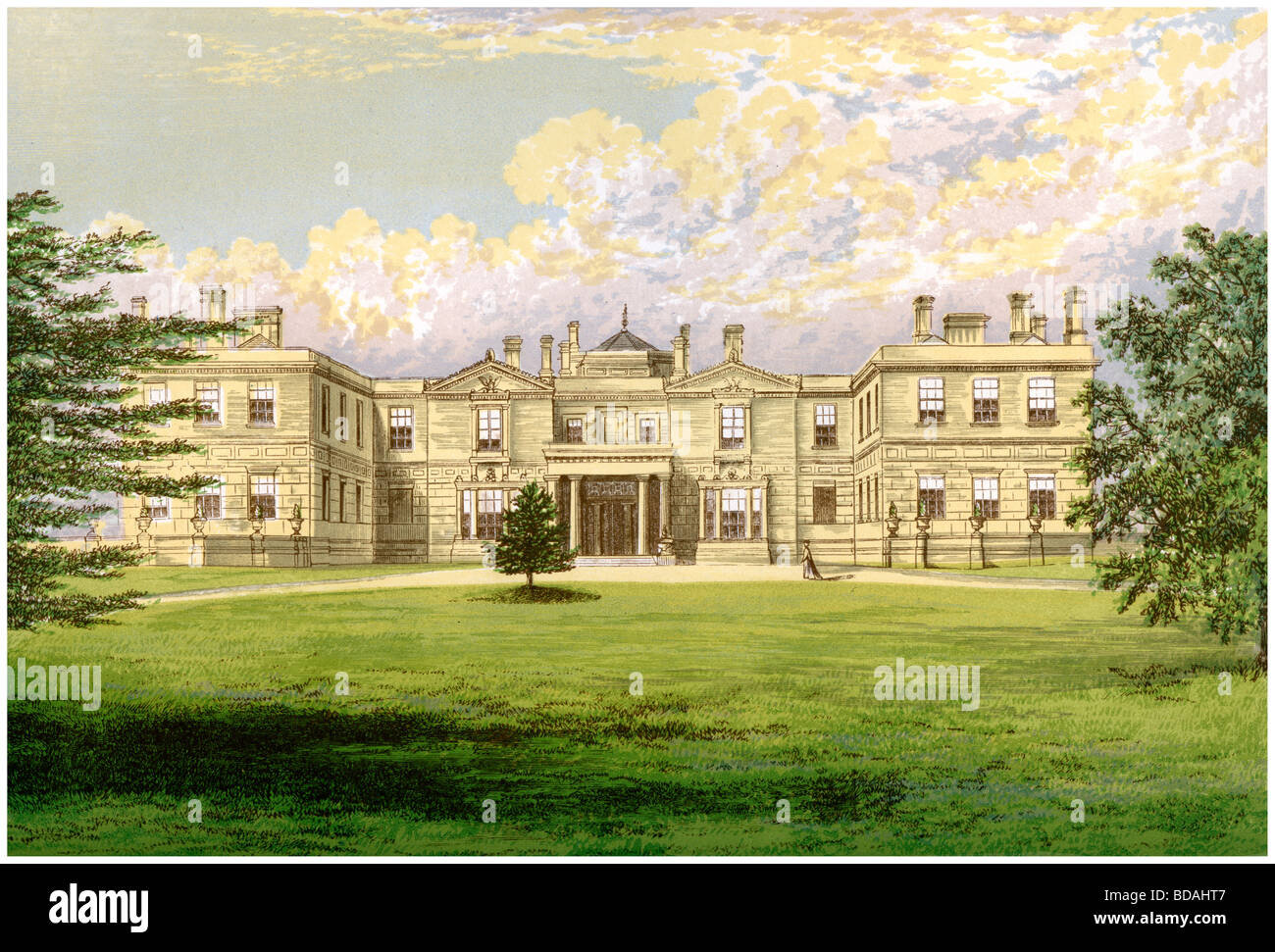 Swithland Hall, Leicestershire, home of the Earl of Lanesborough, c1880. Artist: Unknown - Stock Image