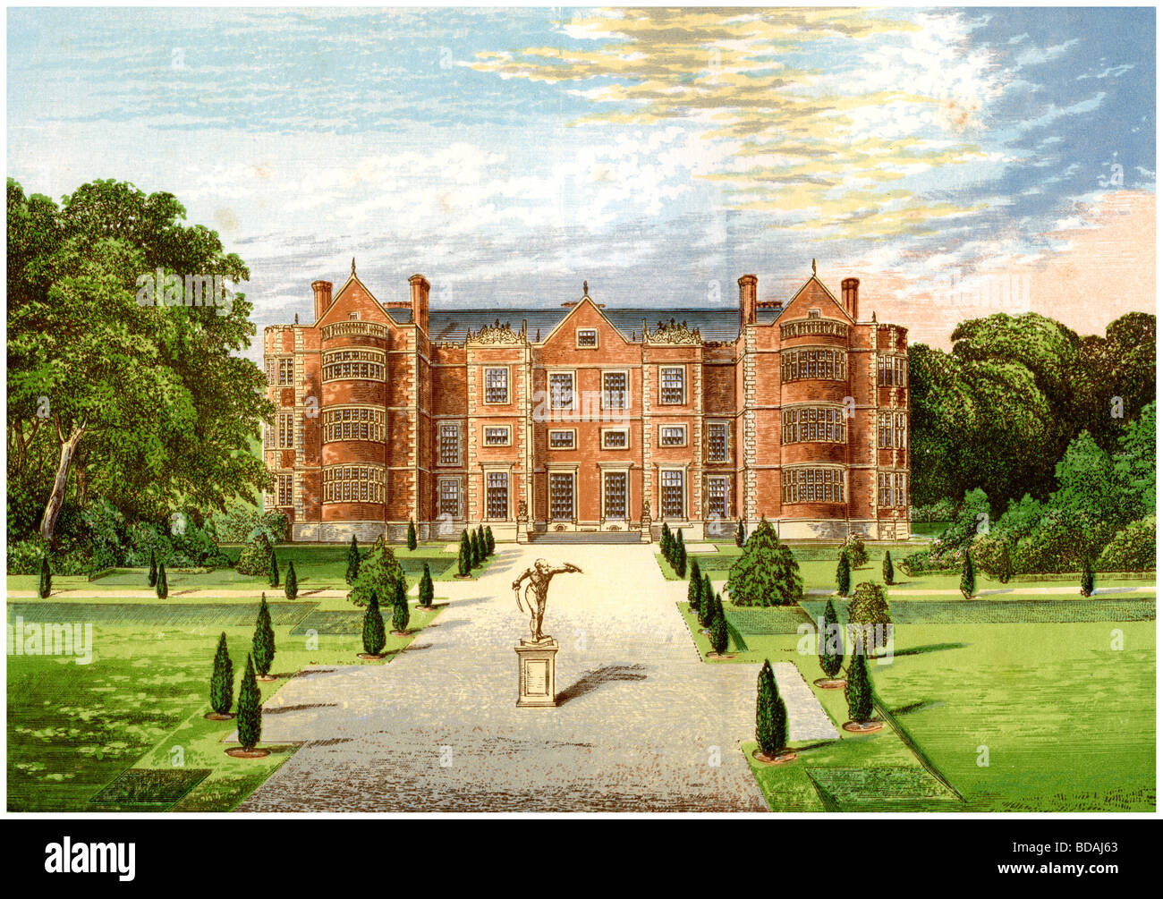 Burton Agnes Hall, Worcestershire, home of Baronet Boynton, c1880. Artist: Unknown - Stock Image