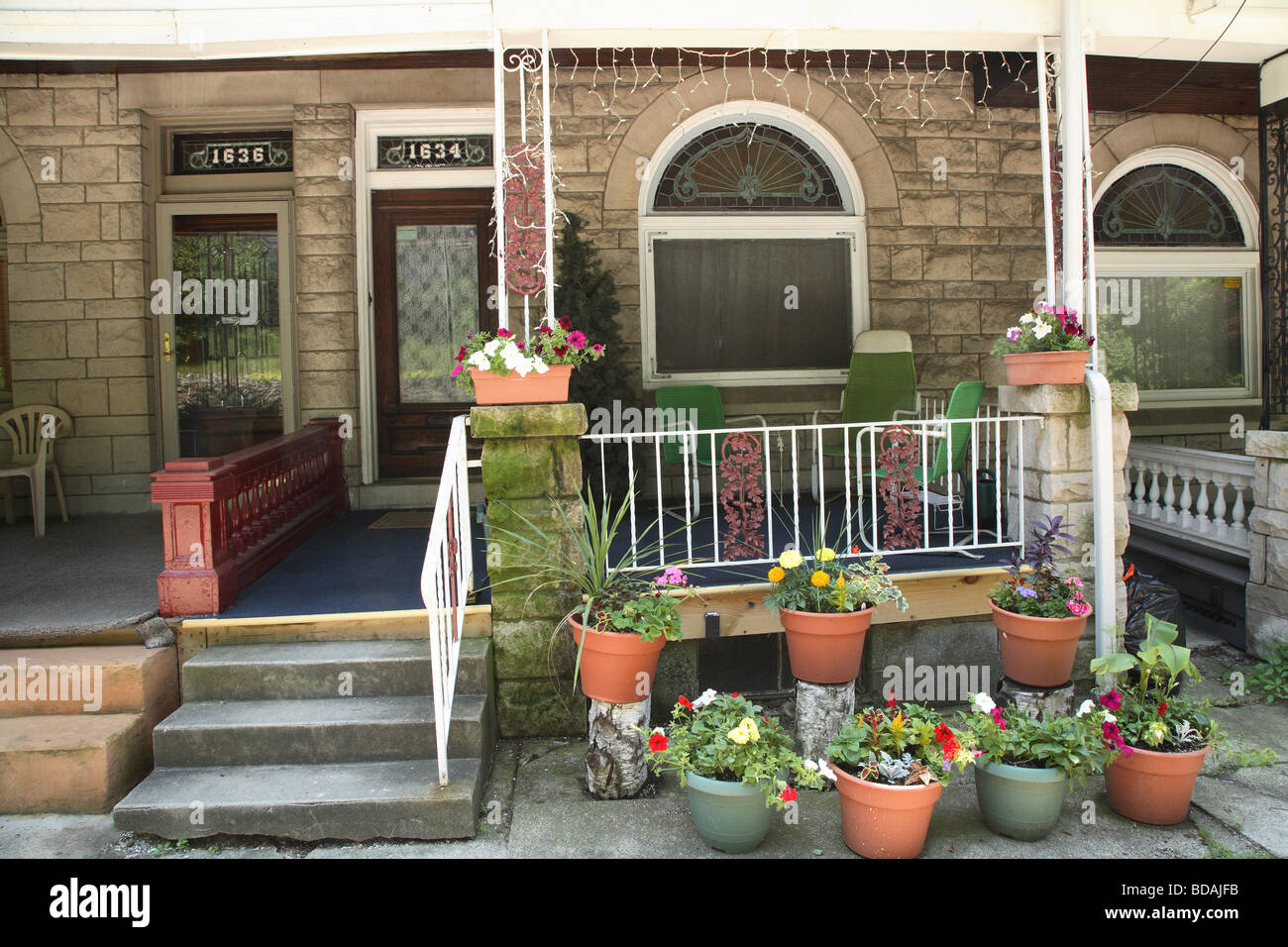 Front Porch And Entrance To Queen Anne Style Terrace Or Row House Stock  Photo: 25434959   Alamy
