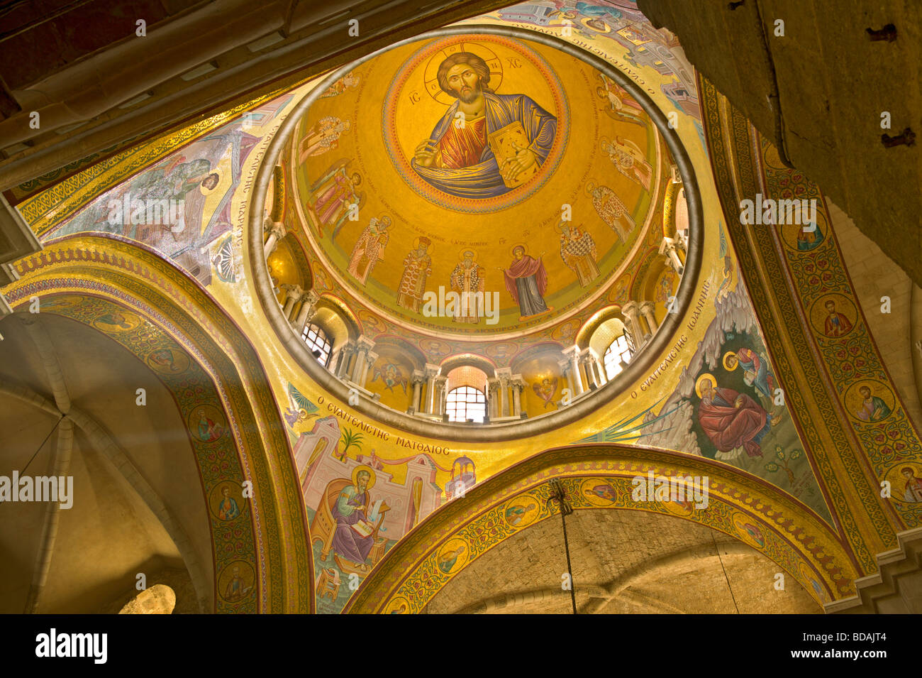 Ceiling detail of the Church of the Holy Sepulchre in Jerusalem. The site is venerated as Calvary where Jesus was - Stock Image