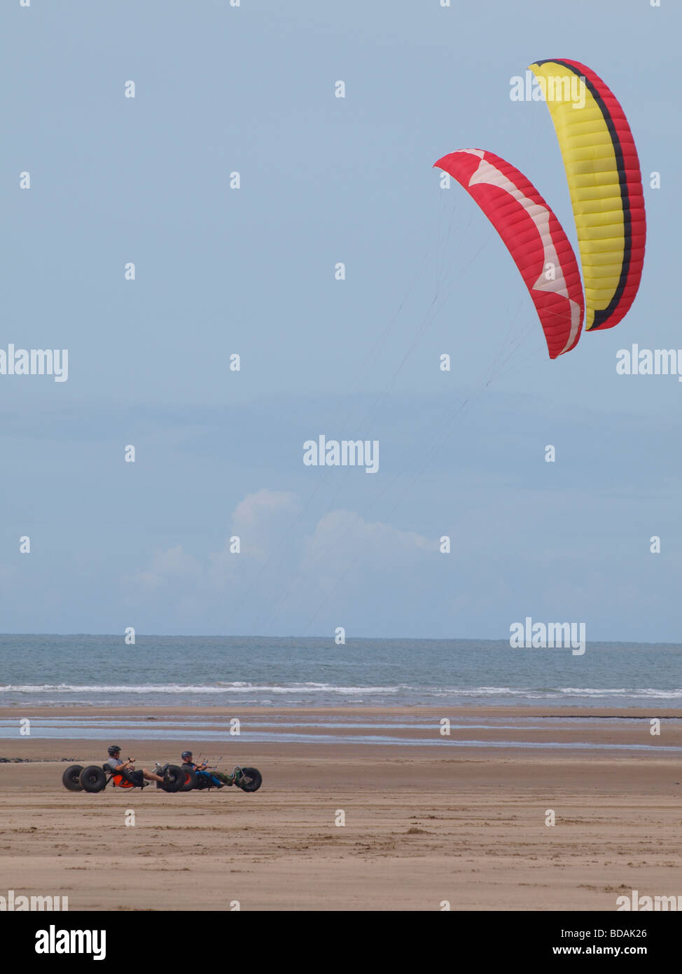 Kite Buggies racing, Westward Ho!, Devon - Stock Image