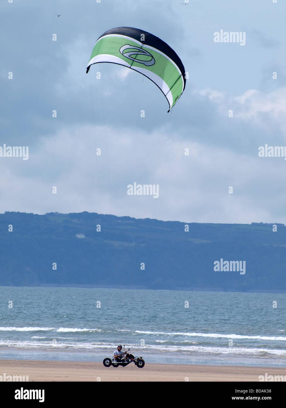 Kite Buggying Westward Ho! Devon - Stock Image