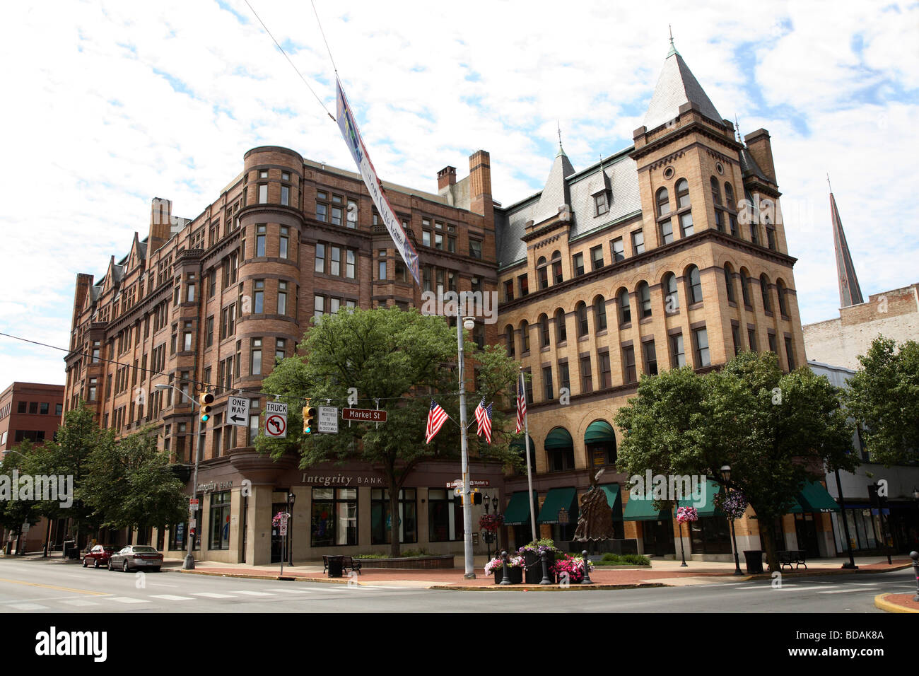 Two large buildings dominate the southwest side of Continental Square, York Pennsylvania. - Stock Image
