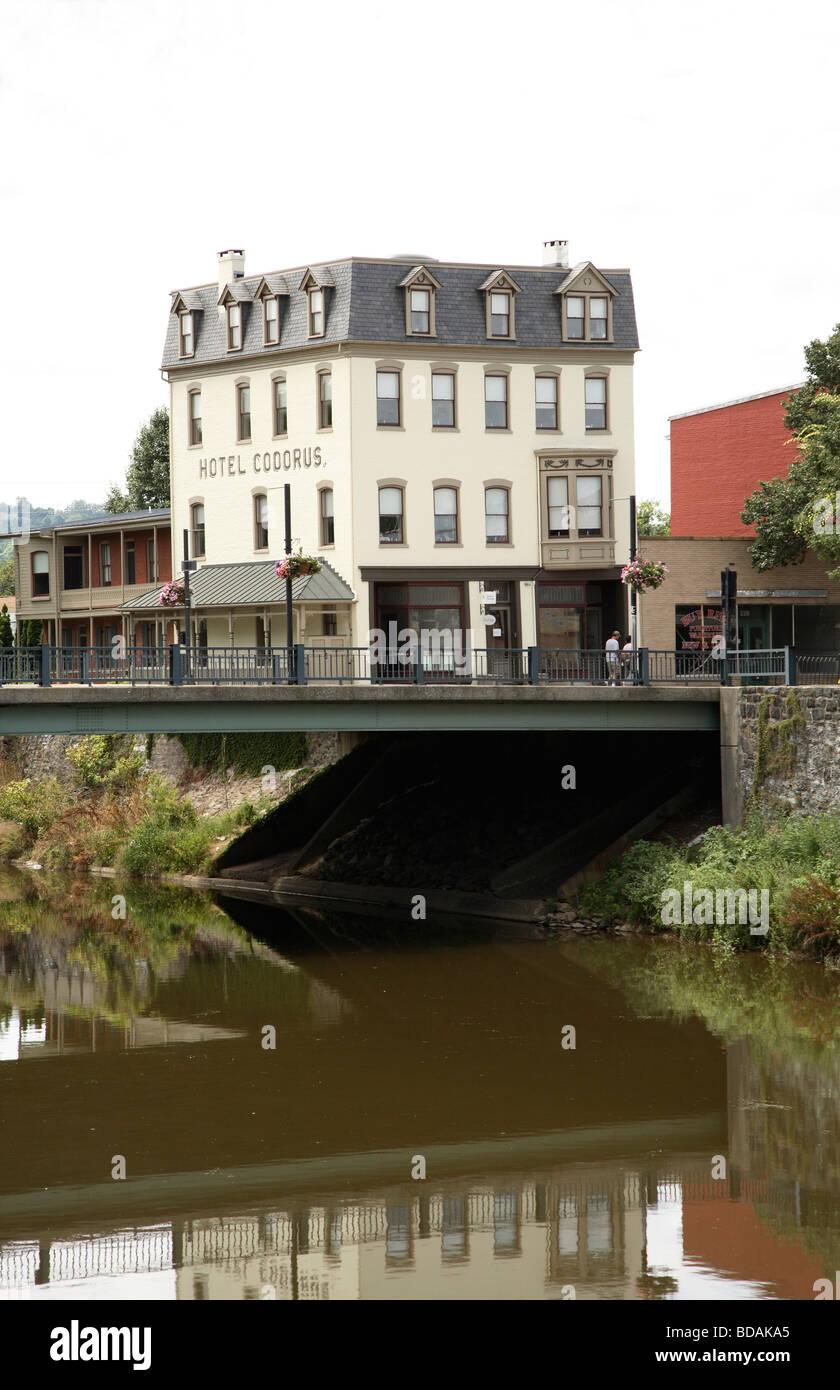 Hotel Codorus on banks of Cororus Creek.. - Stock Image