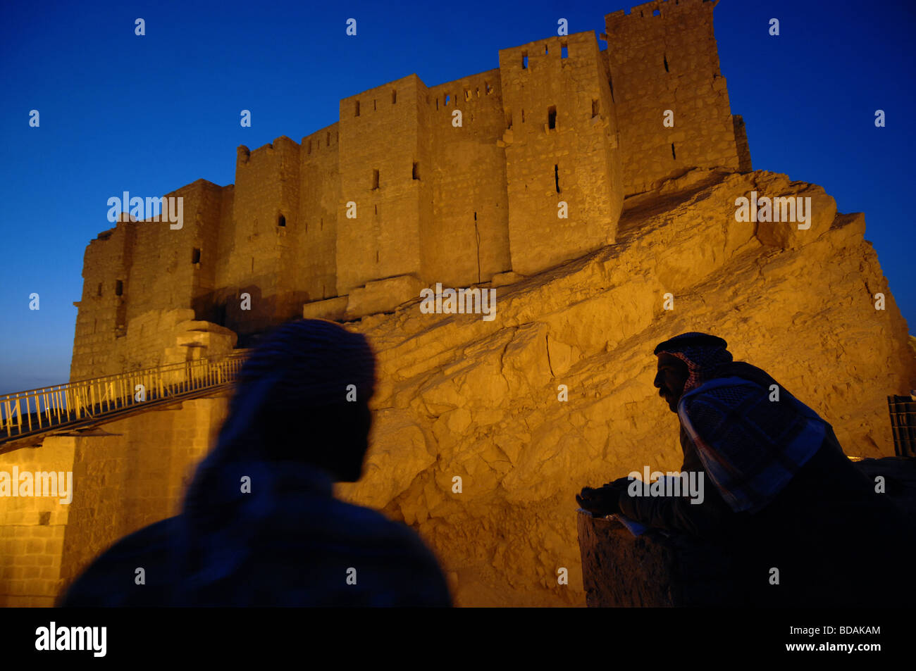 Bedouin outside the citadel of Palmyra Syria - Stock Image