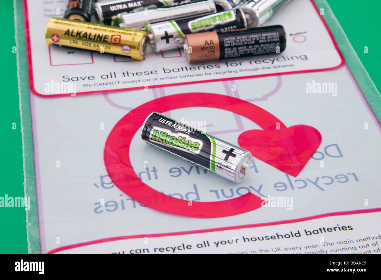 Studio Britain UK Used household batteries and battery recycling bag with logo - Stock Image