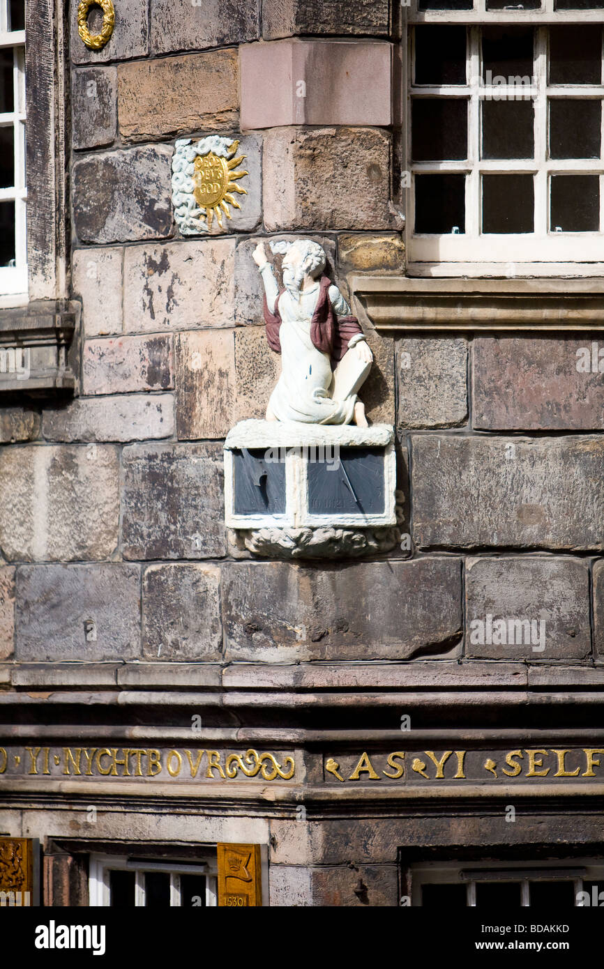 A carving of John Knox the Scottish 16th Century religious reformer, on the corner of his house in Edinburgh's Royal Stock Photo