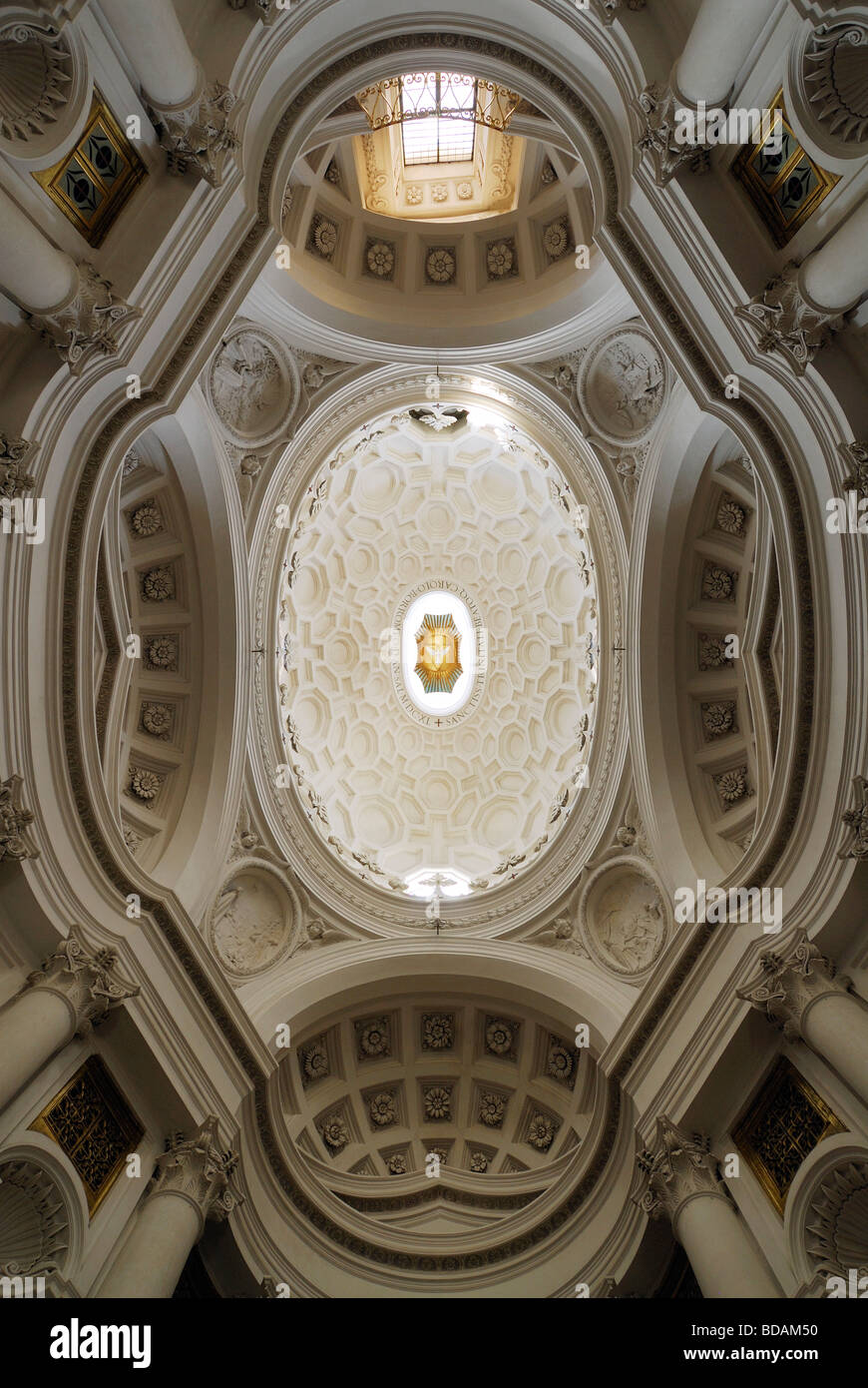 Rome Italy Ceiling of the church of San Carlo alle Quattro Fontane designed by Francesco Borromini Stock Photo