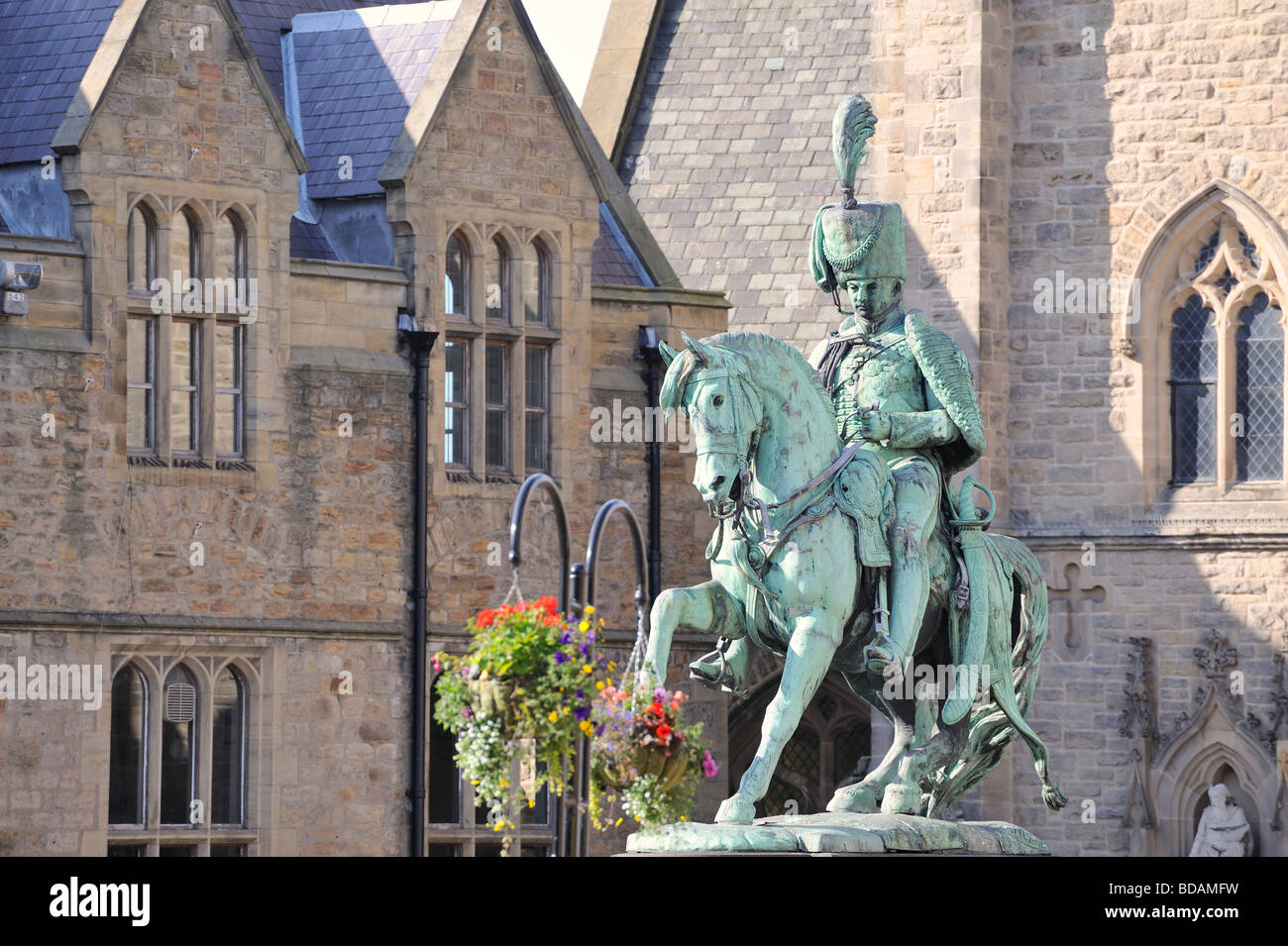Durham market place Statue of the Marquis of Londonderry  Charles William Vane Tempest Stewart. - Stock Image