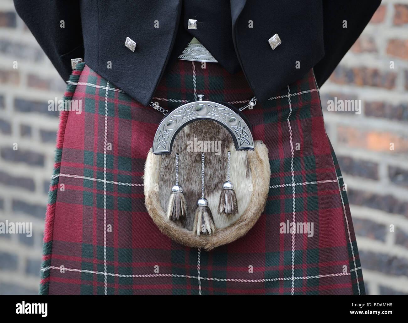 Scotland Sporran Kilt Scotland traditional dress Tartan - Stock Image