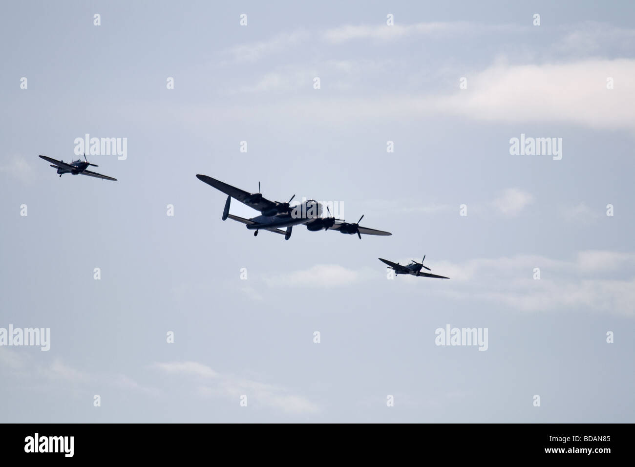 Spitfire Hurricane and Lancaster bomber at Blackpool Airshow 2009 - Stock Image