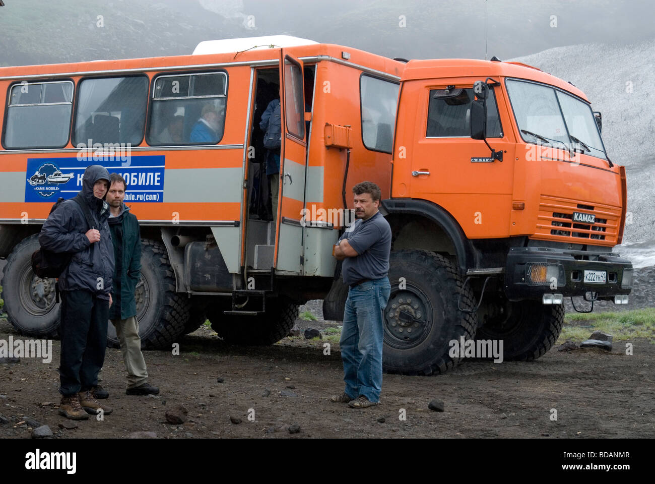 Expedition truck in Nalychevo Nature Park , Kamchatka , Russia - Stock Image