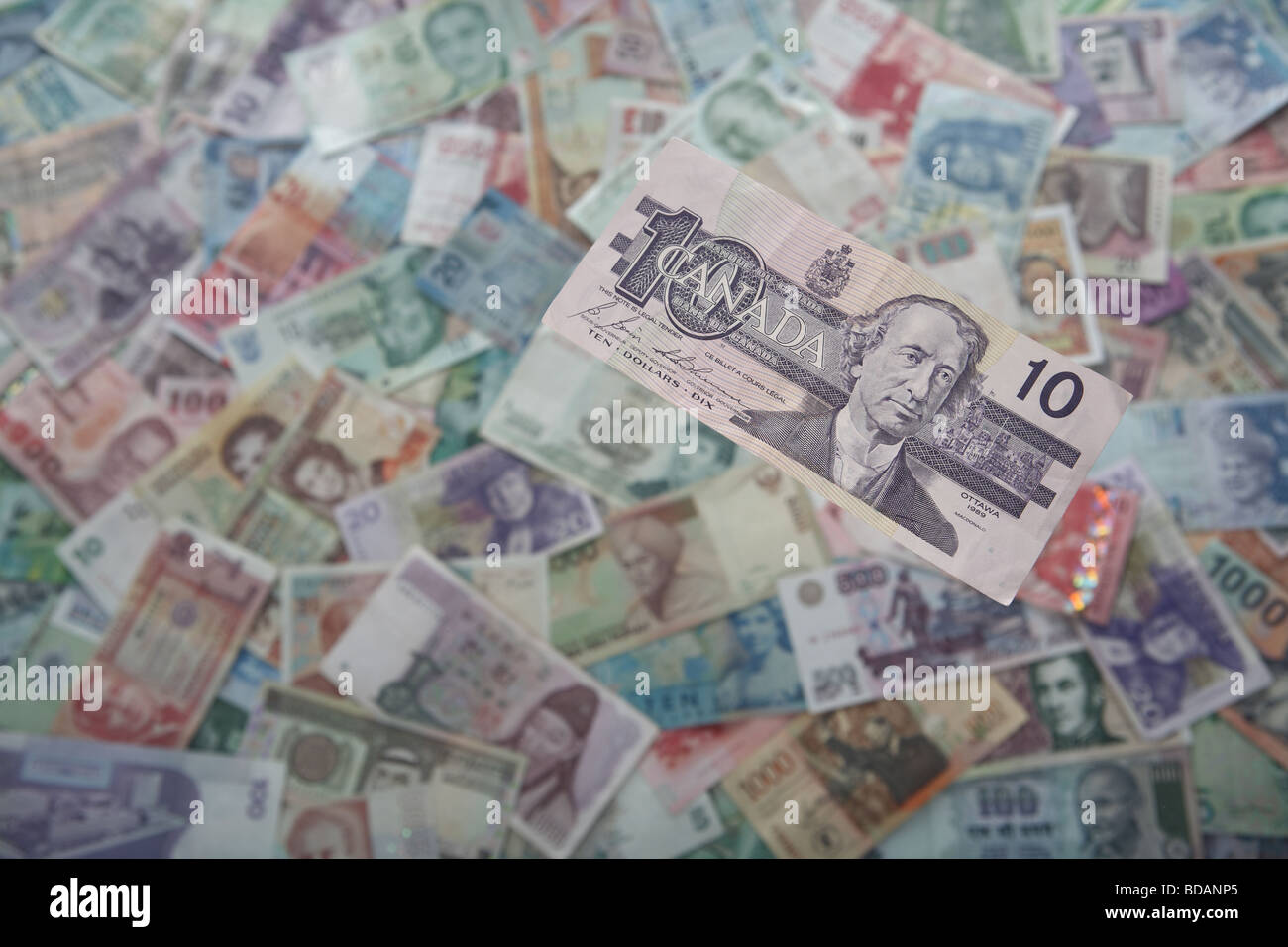 A Canadian Dollar on a soft background of international currencies - Stock Image