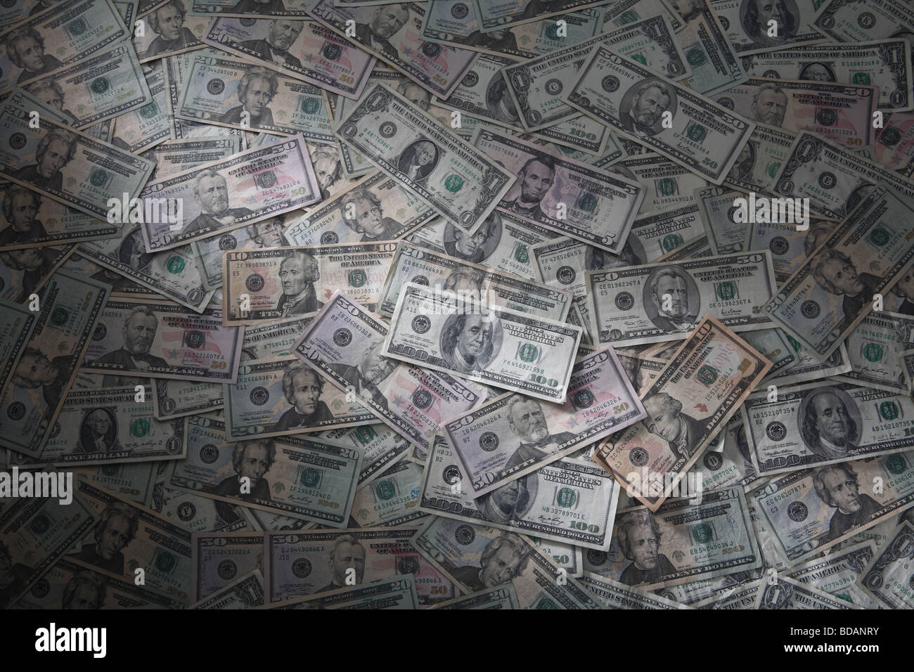 An arrangement of common American currency denominations. - Stock Image