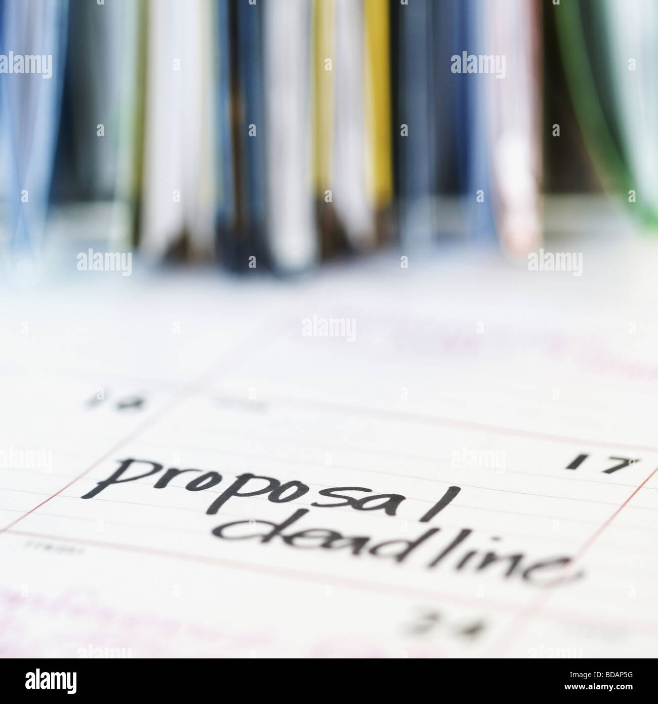 Close-up of text Proposal Deadline written on a calendar date - Stock Image