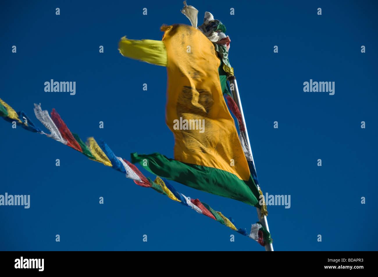 Prayer flags fluttering against the blue sky, Khardung La Pass, Ladakh, Jammu and Kashmir, India - Stock Image