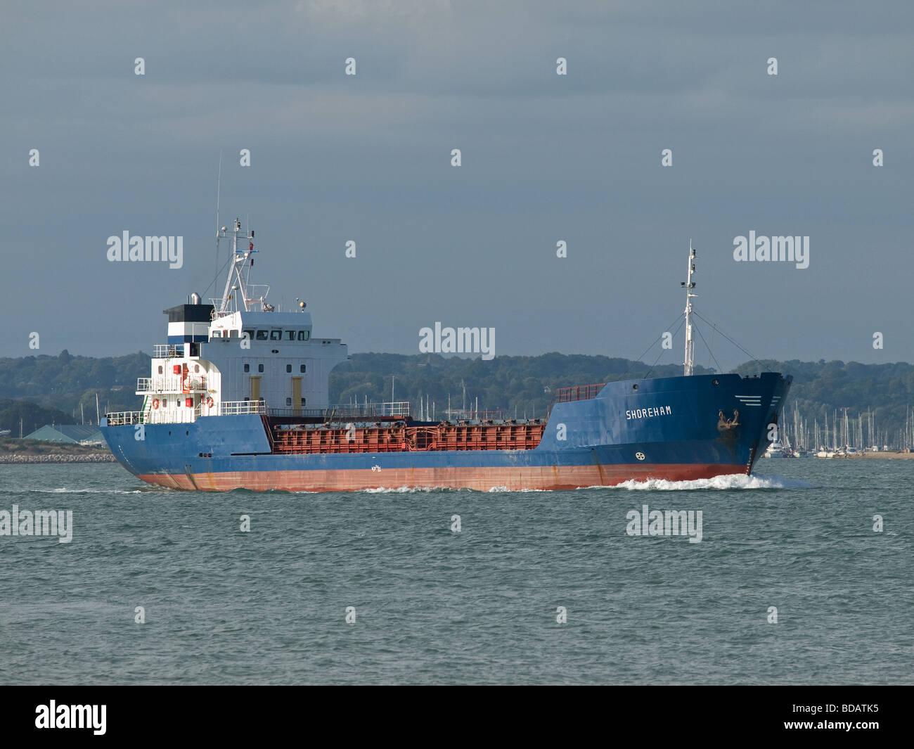 General cargo ship Shoreham leaving Southampton UK - Stock Image