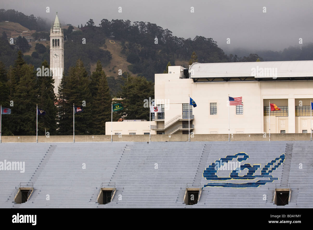 University of California at Berkeley's Sather Tower with Edwards Stadium and the Recreational Sports Facility - Stock Image