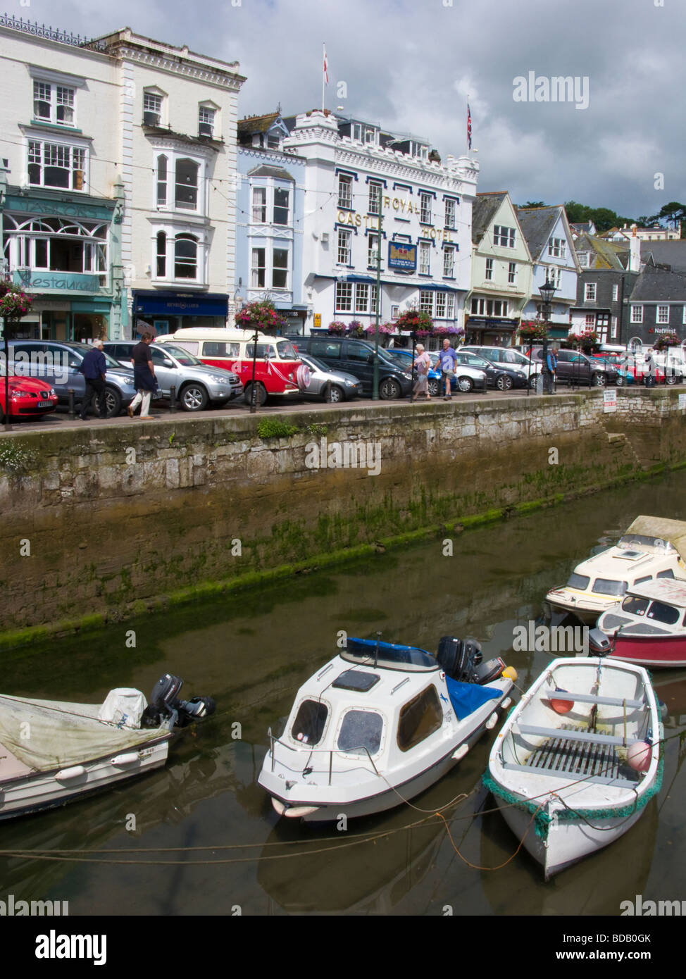 View of The Quay across the inner harbour including the Royal Castle Hotel Dartmouth Devon UK Stock Photo