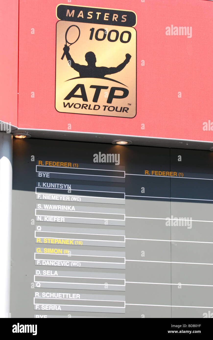 ATP tennis world tour table - Stock Image