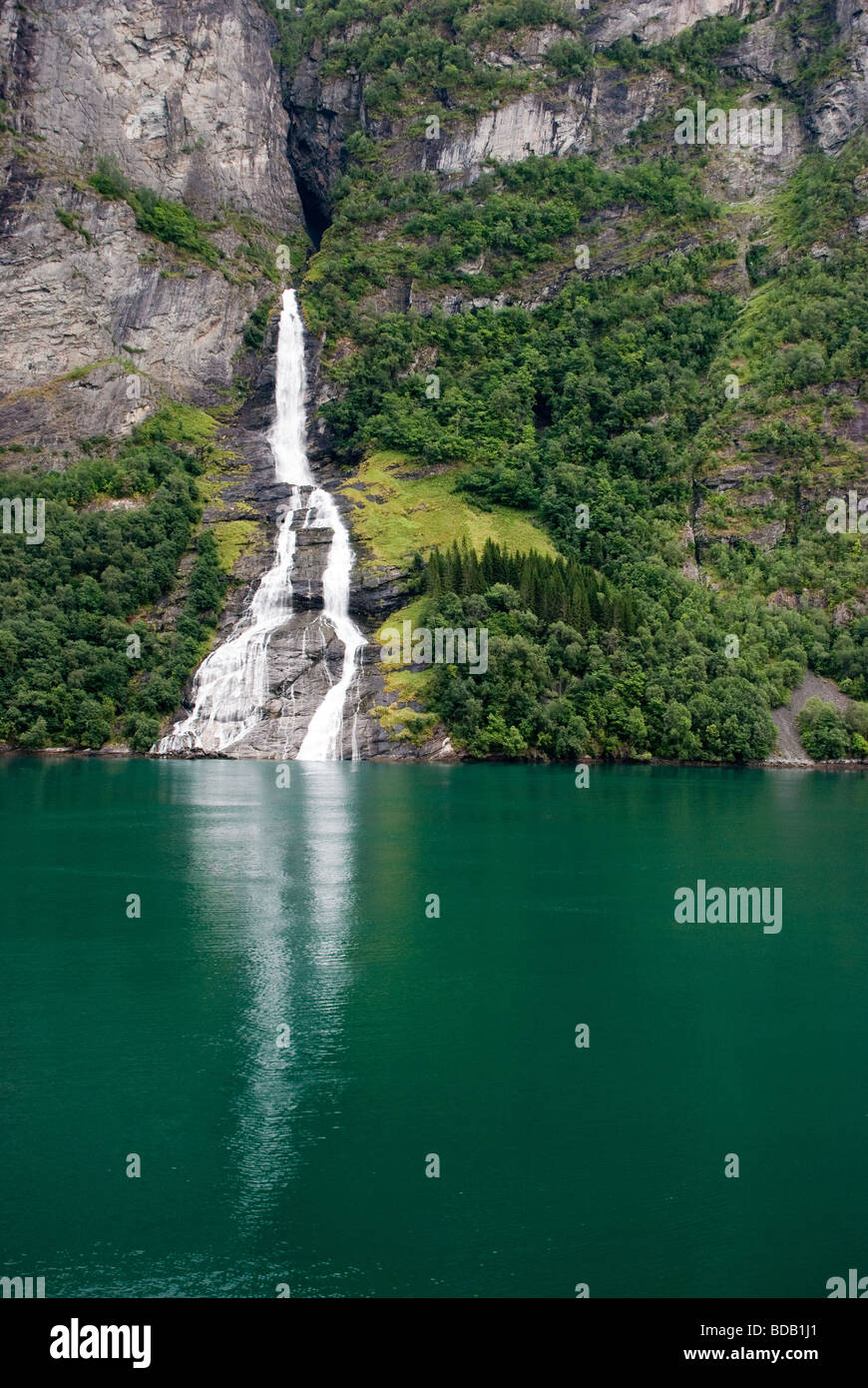 Waterfall in Geirangerfjord, Norway - Stock Image