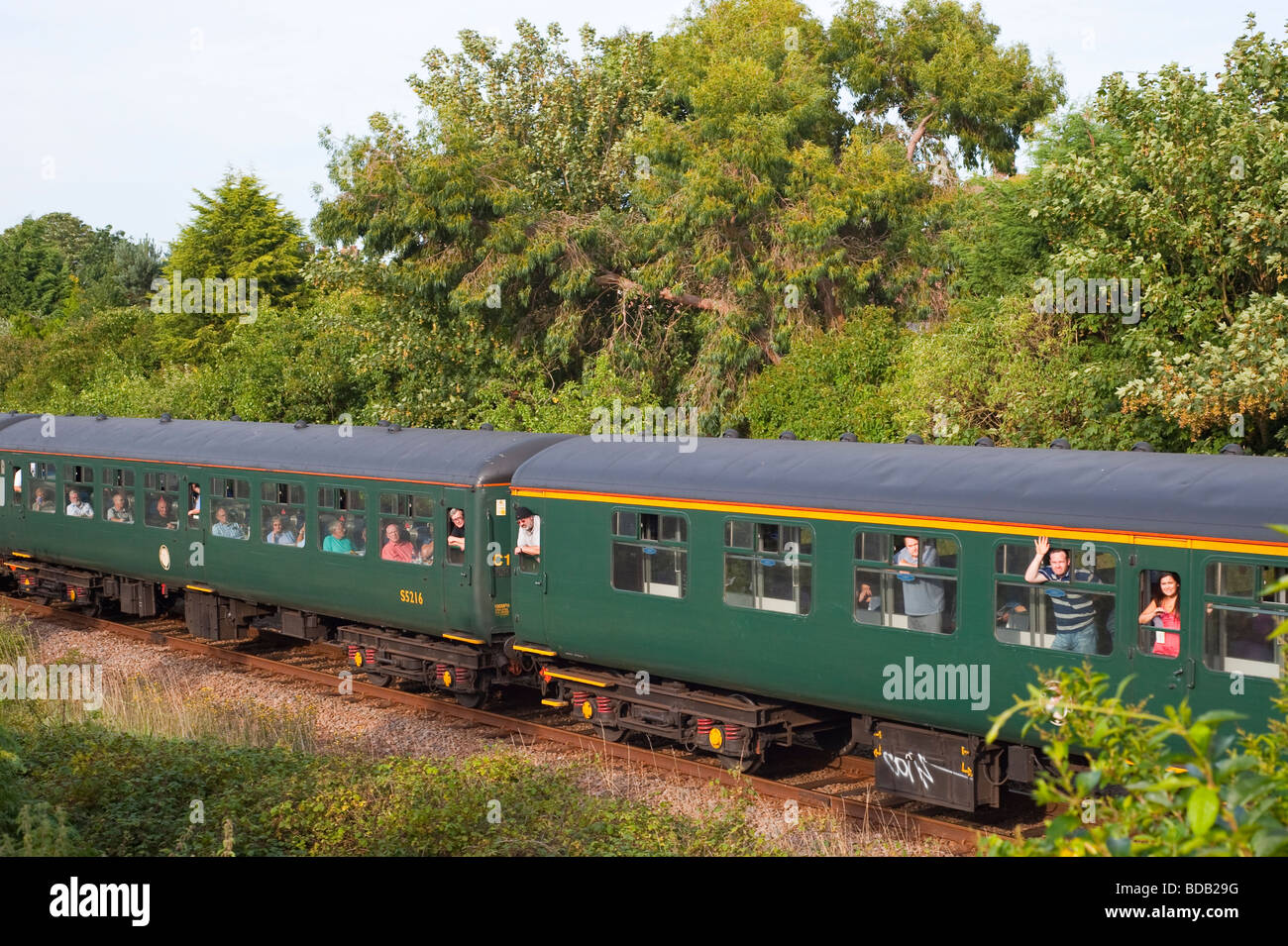 Carriages with passengers in a train on the Suffolk line in Beccles Suffolk Uk in 2009 - Stock Image