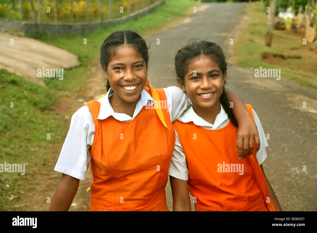 Teenage shcoolgirls Neiafu Vavau Tongan Islands - Stock Image