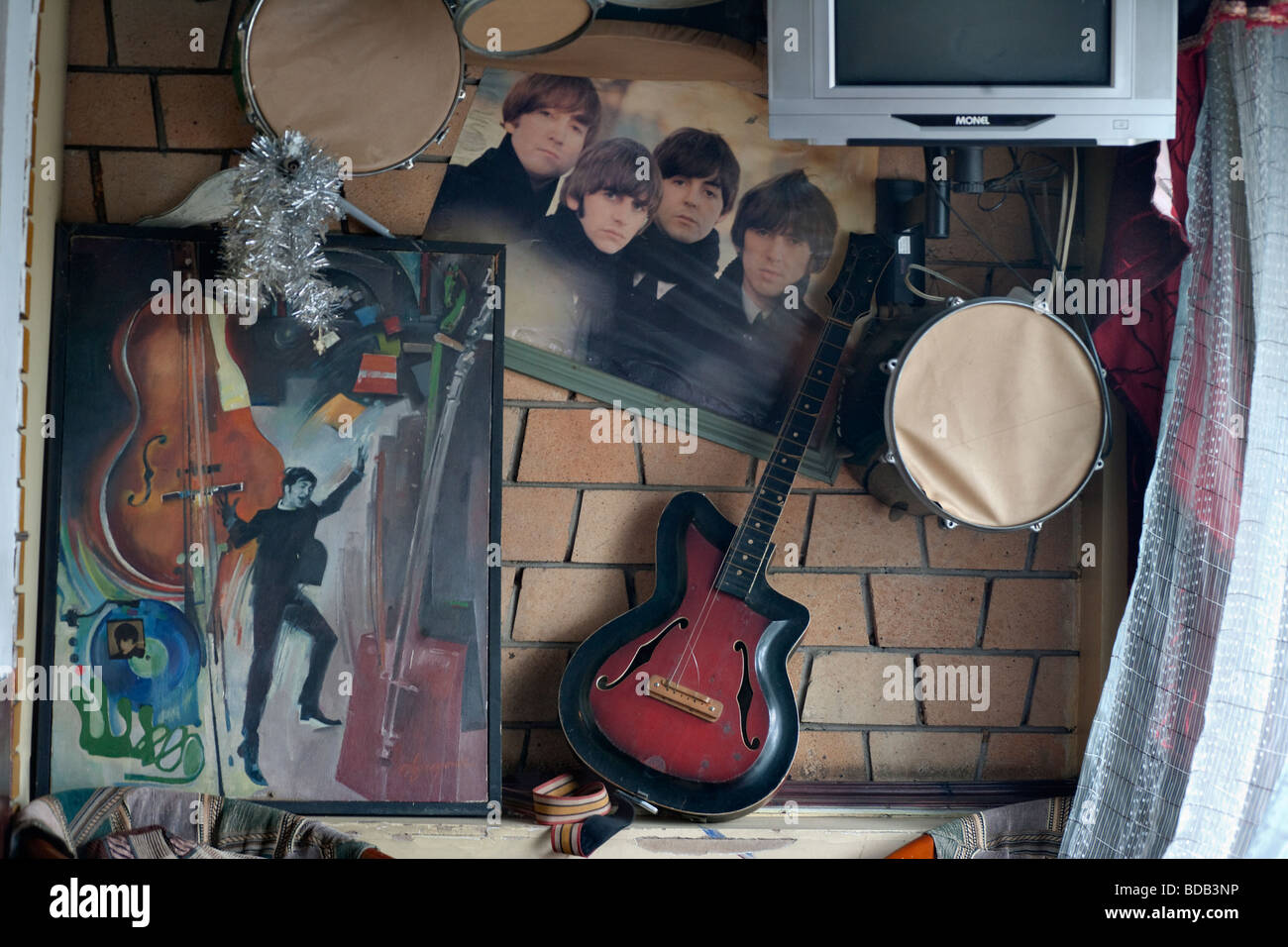 Amusing tribute to the Beatles in a bar, Ulaan Baatar, Mongolia - Stock Image