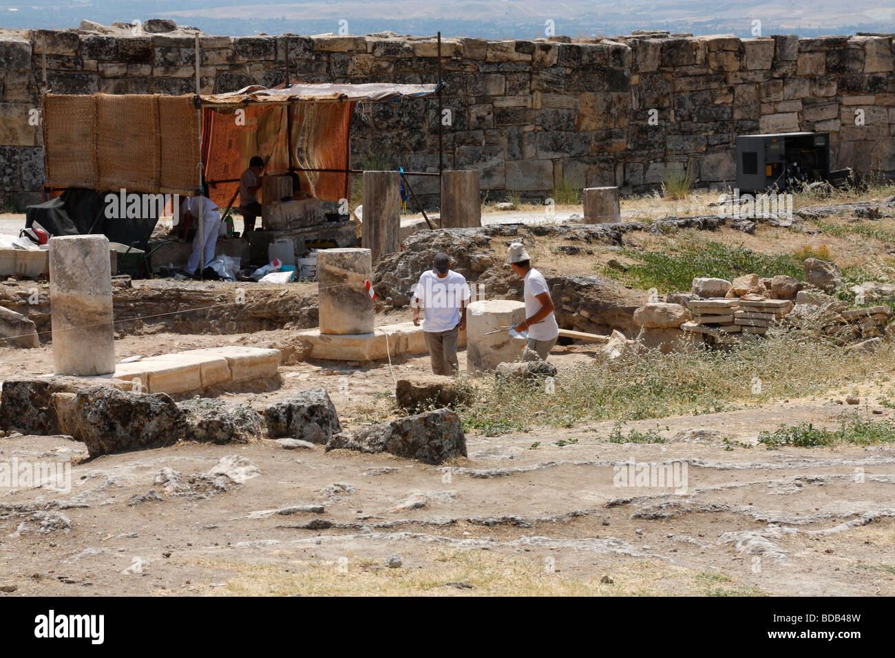 Archaelogists are working in Hierapolis (Pamukkale) ancient city ruins. Denizli, Turkey, August, 2009, Stock Photo