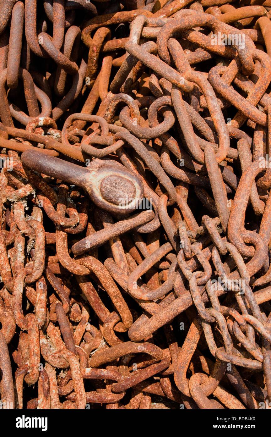 Texel Netherlands Oudeschild rust brown russet Chain - Stock Image