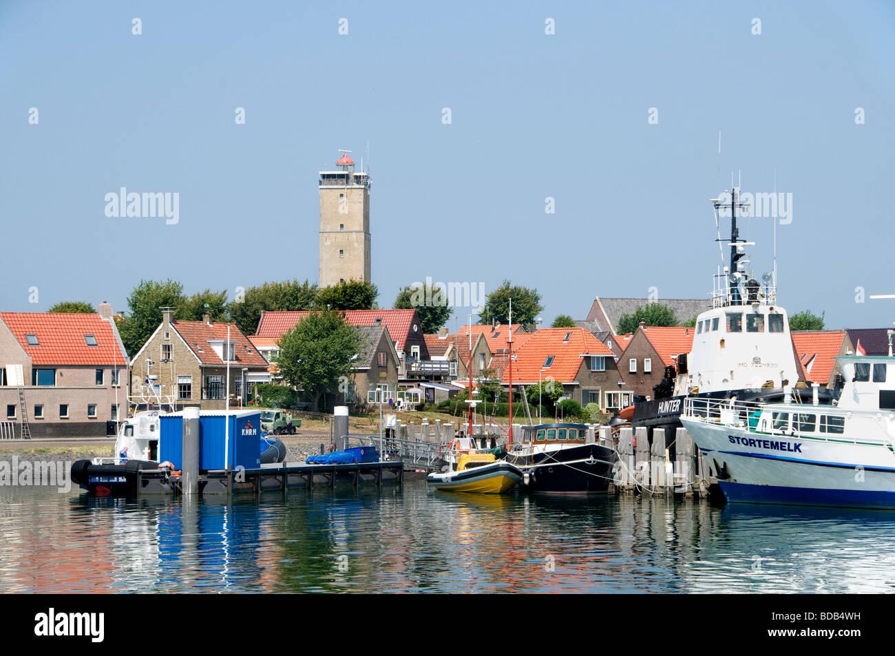 Terschelling Friesland Brandaris lighthouse Wadden Wad Sea Harbour Port Netherlands - Stock Image