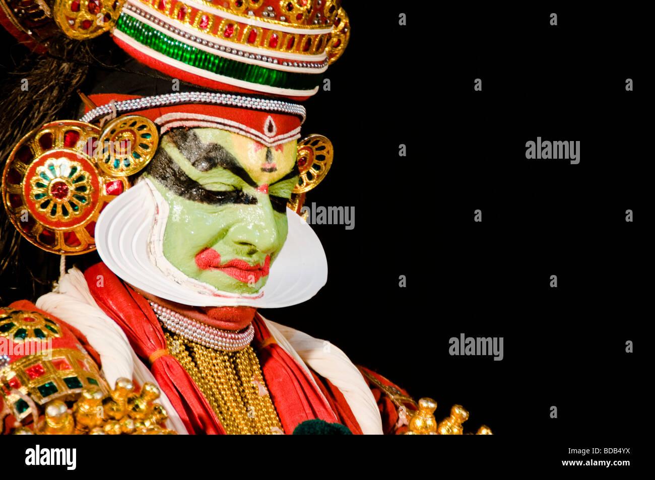 Kathakali face - highly stylised classical Indian dance drama, Kerala, India - Stock Image