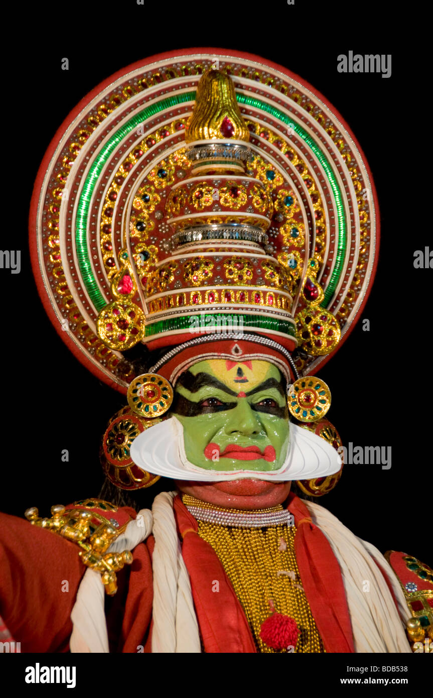 Facial expressions of Kathakali dancer - highly stylised classical Indian dance drama, Kerala, India - Stock Image