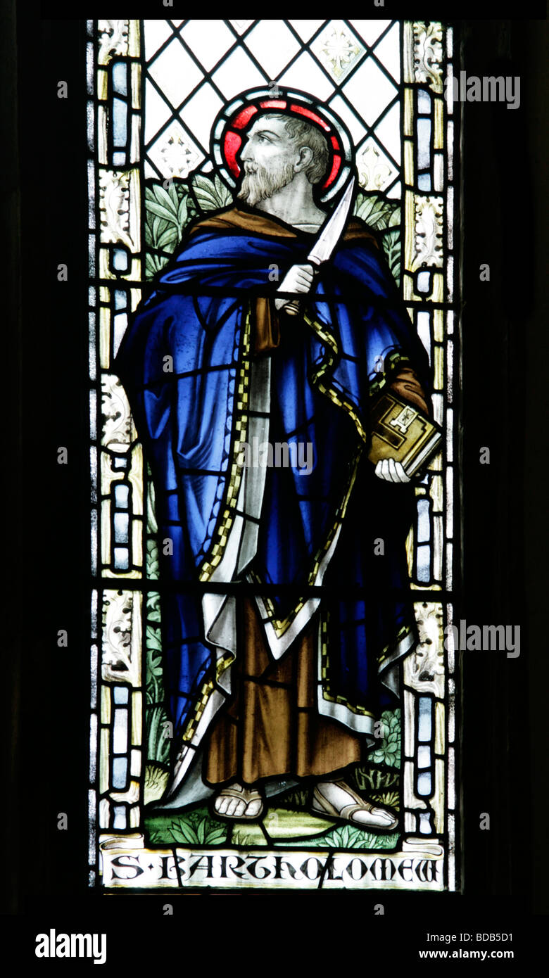 Stained Glass Window Depicting Saint Bartholomew Earls Barton Church Northamptonshire - Stock Image