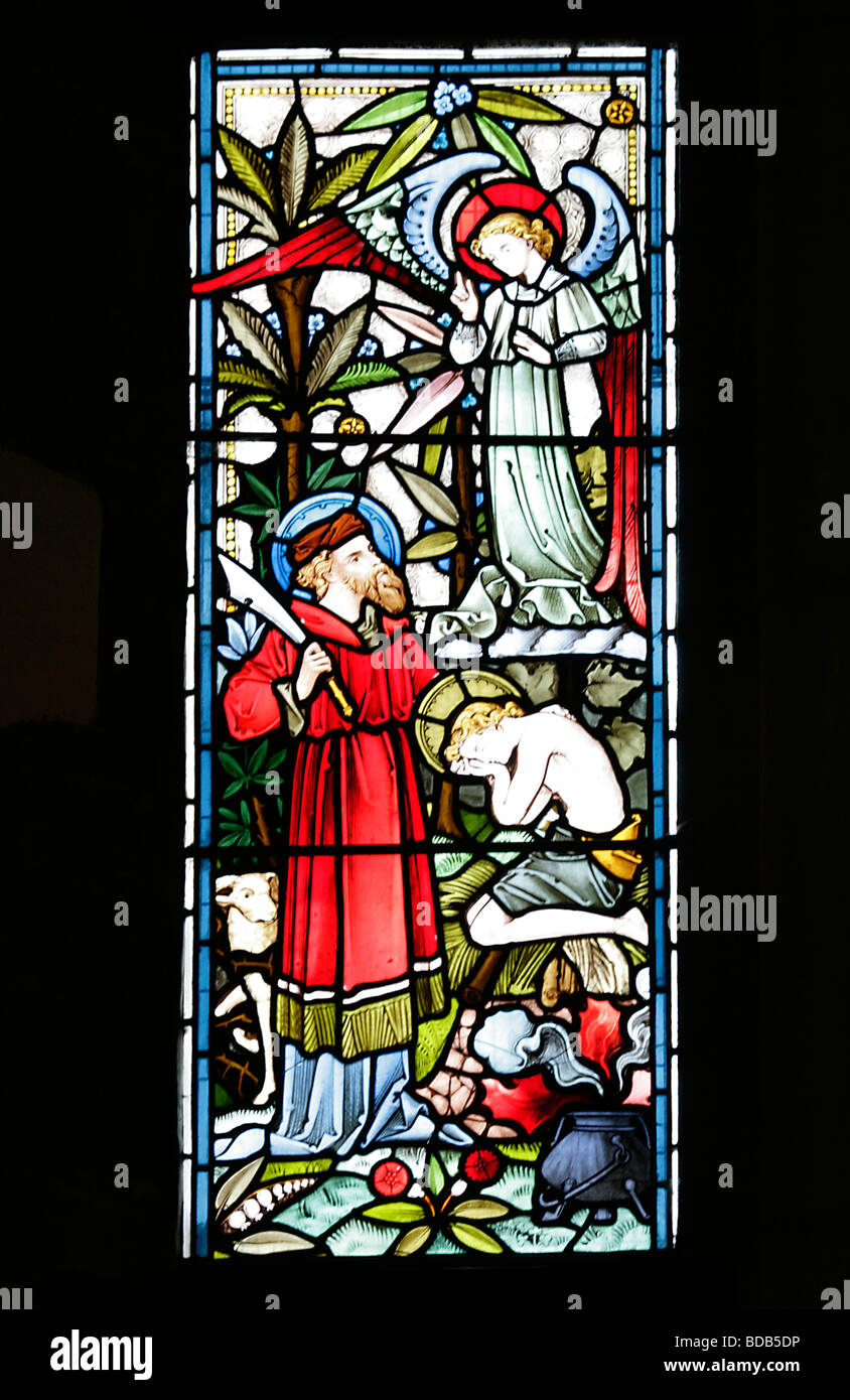 Stained Glass Window depicting Genesis 22 9 Abraham sacrificing isaac Earls Barton Church Northamptonshire - Stock Image