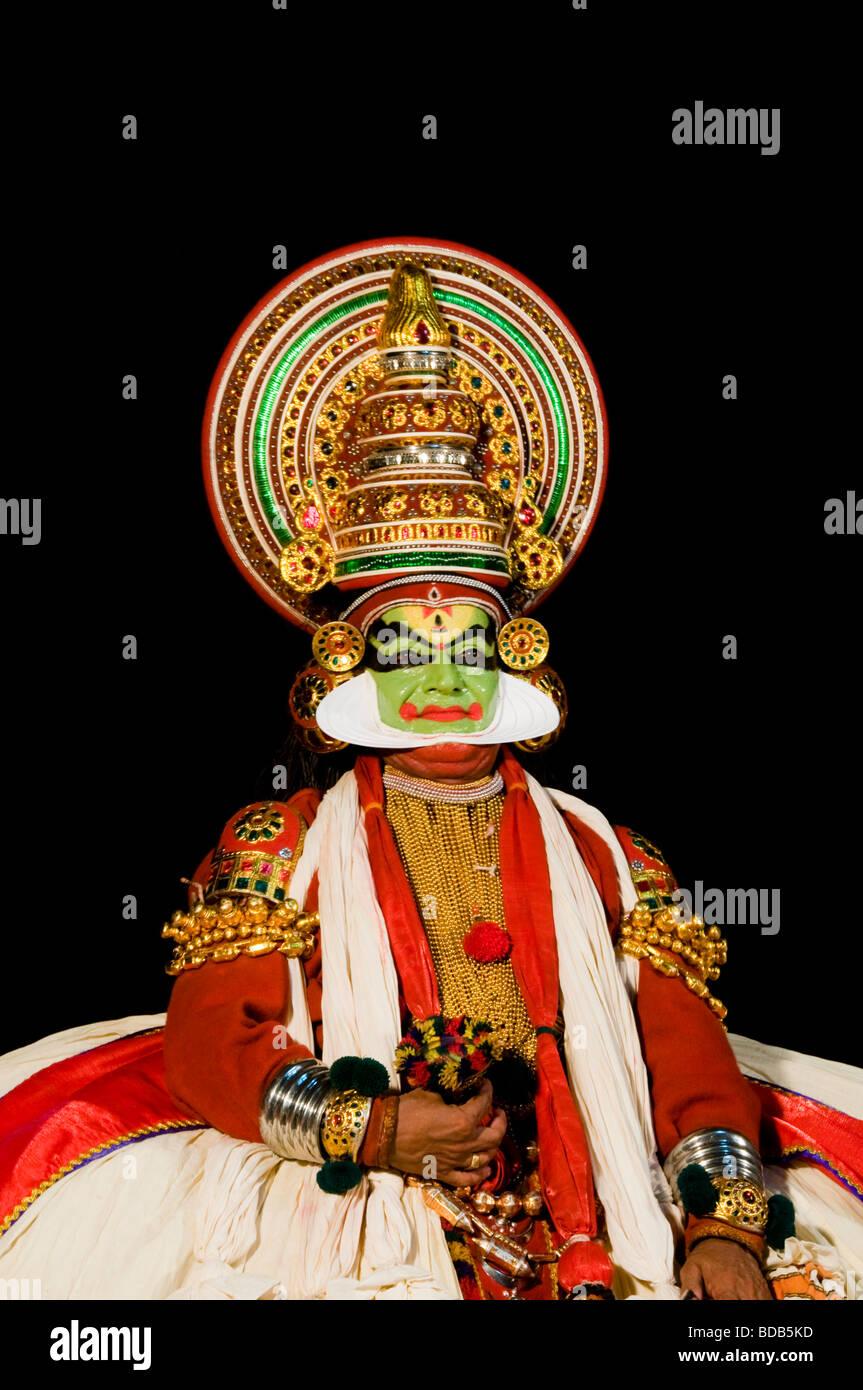Kathakali dancer - highly stylised classical Indian dance drama, Kerala, India - Stock Image
