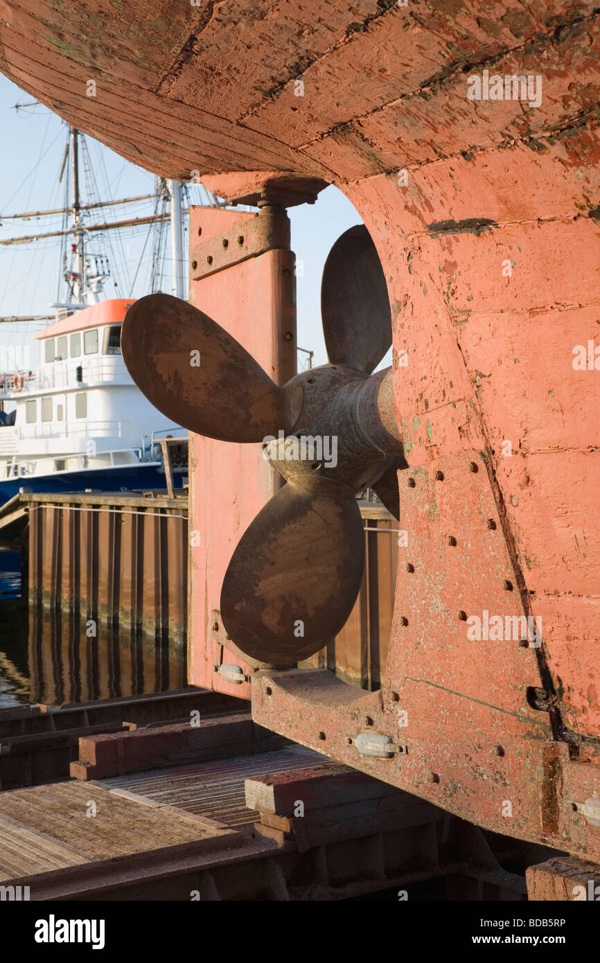 Stern of a fishing trawler on the slipway for necessary repair, Gilleleje, Denmark. - Stock Image