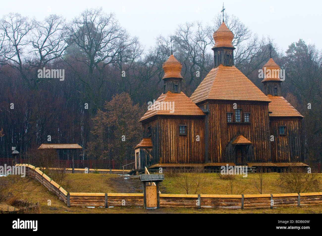 wooden church in Ukranian village near Kiev - Stock Image