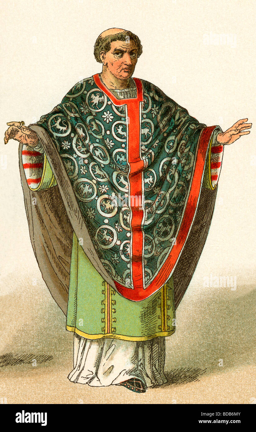 The costume depicted here represents the garb worn around A.D. 900 by a French bishop. The illustration dates to - Stock Image