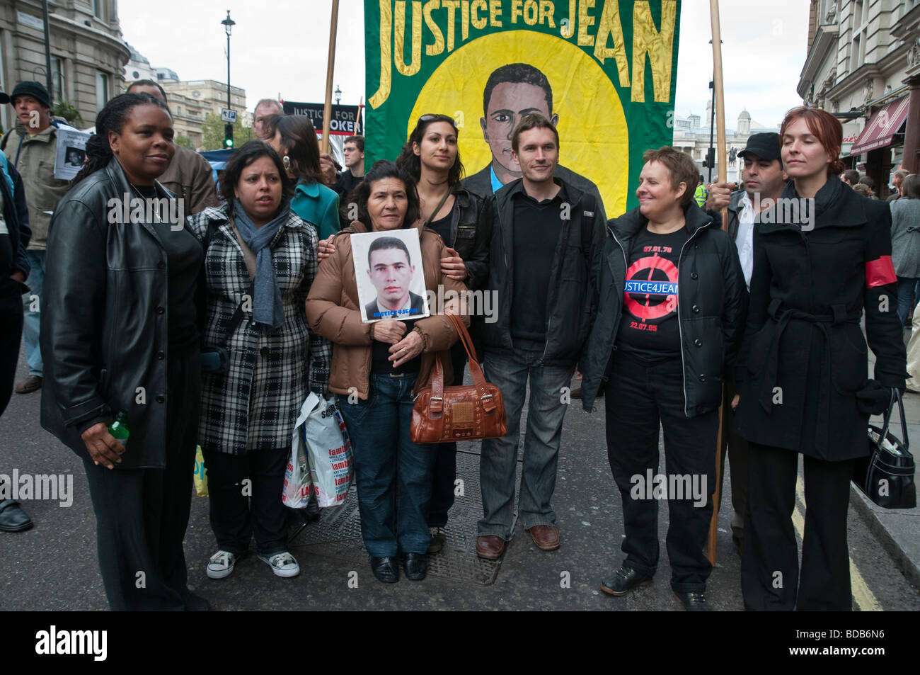 United Friends and Families Protest Custody Deaths in Whitehall march. Family of Jean Charles de Menezes and supporters. - Stock Image