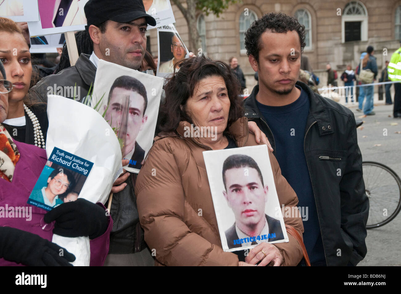 United Friends and Families Protest Custody Deaths in Whitehall march. Family of Jean Charles de Menezes at Downing - Stock Image