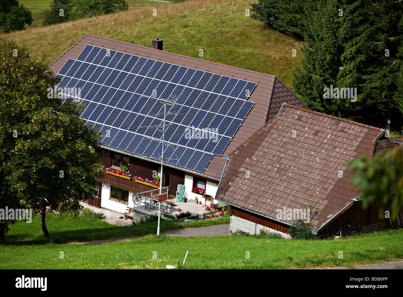 An eco house powered by solar panels in Schwarzwald, Germany, Europe. - Stock Image