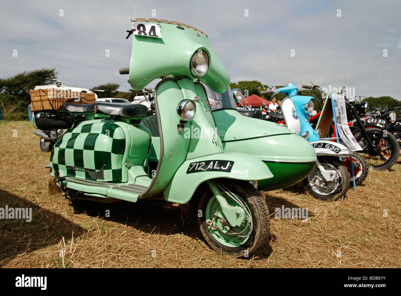 a nineteen sixties lambretta scooter at a vintage vehicle rally in cornwall, uk - Stock Image