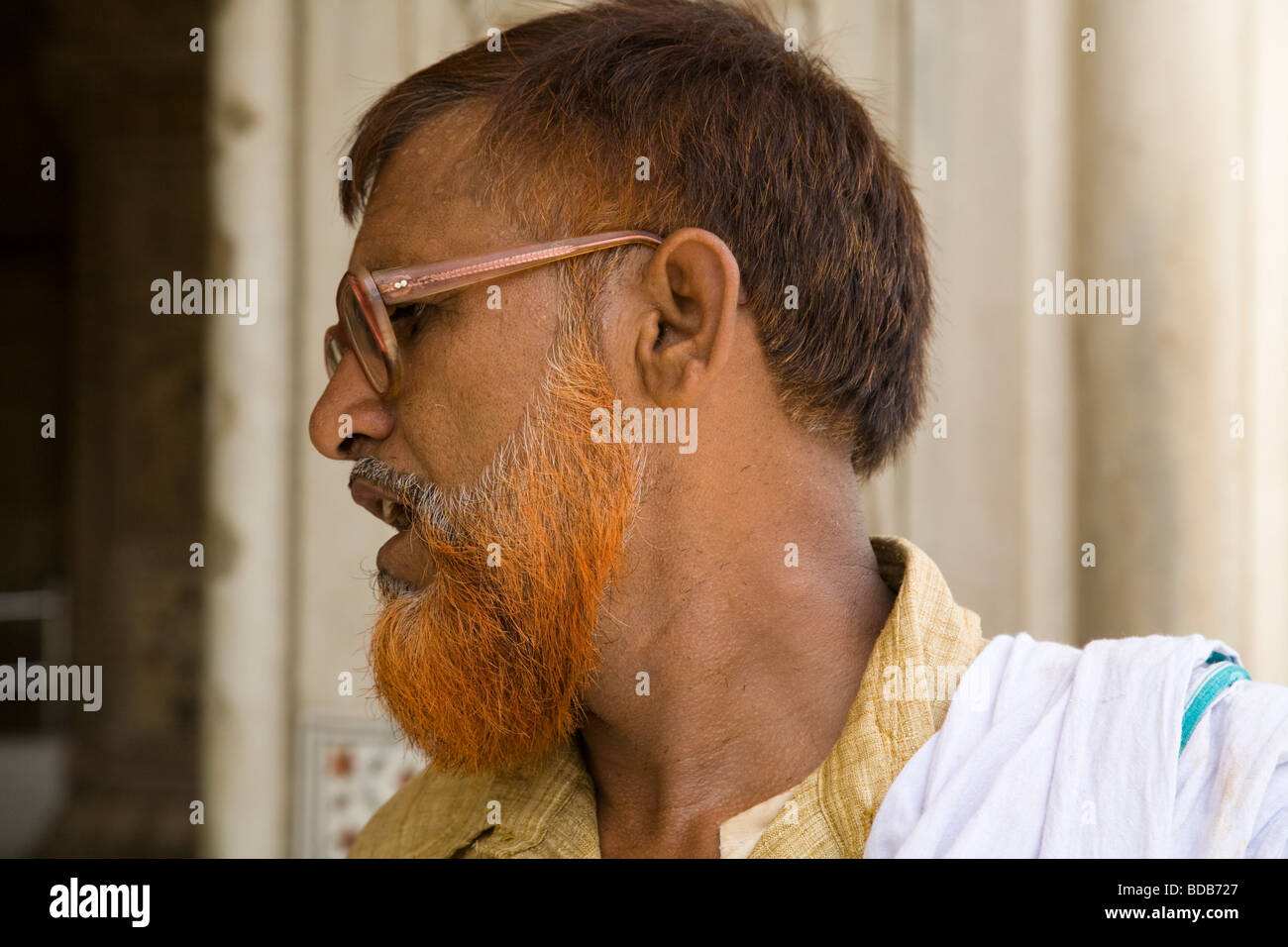An Indian Man With His Beard Dyed With Henna Colour Inside The Red