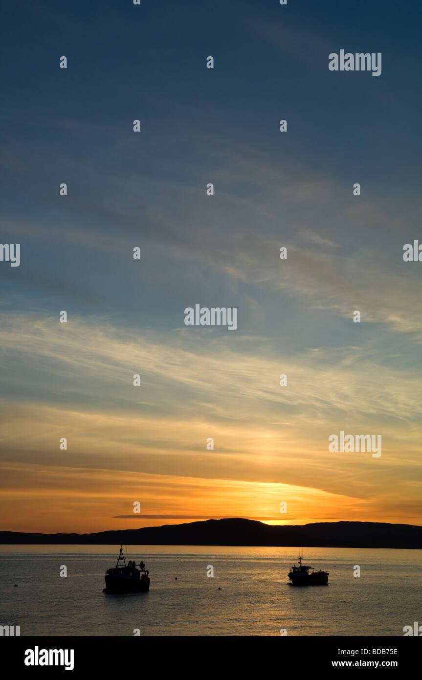 Sun setting at Elgol on Skye - Stock Image