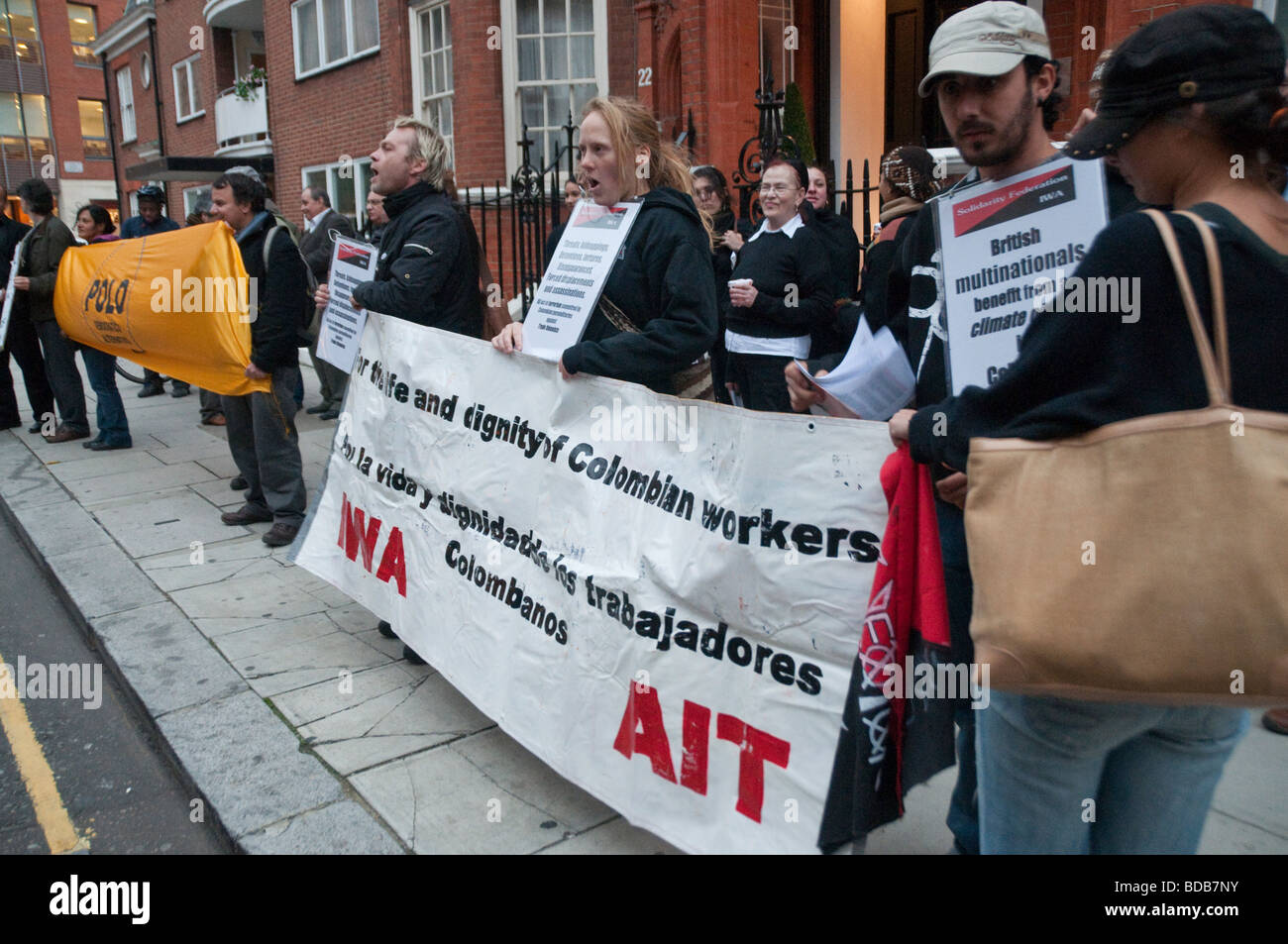 Protest opposite Colombian Embassy in London in support of the General Strike in Colombia - Stock Image