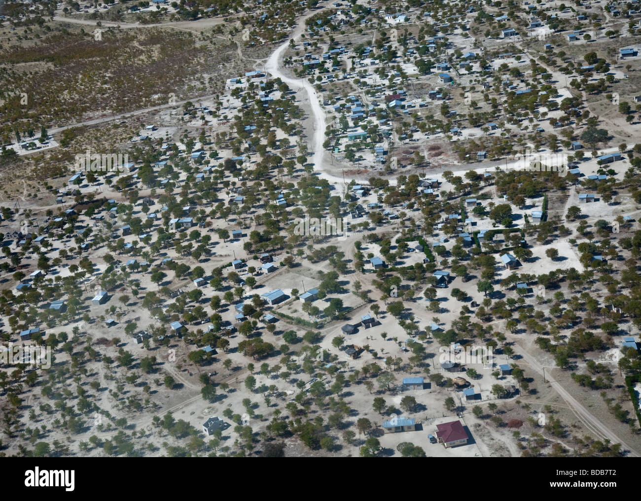 Aerial view of the town of Maun in northern Botswana, taken from a Cessna plane. - Stock Image